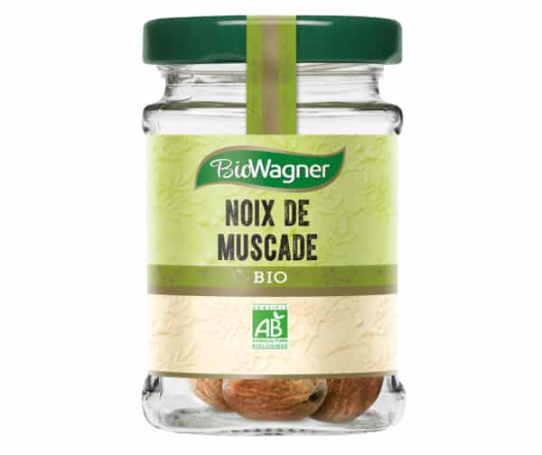Noix de muscade entière bio - Flacon verre - BioWagner