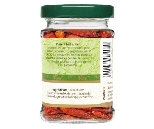 Piment fort entier bio - Flacon verre - BioWagner