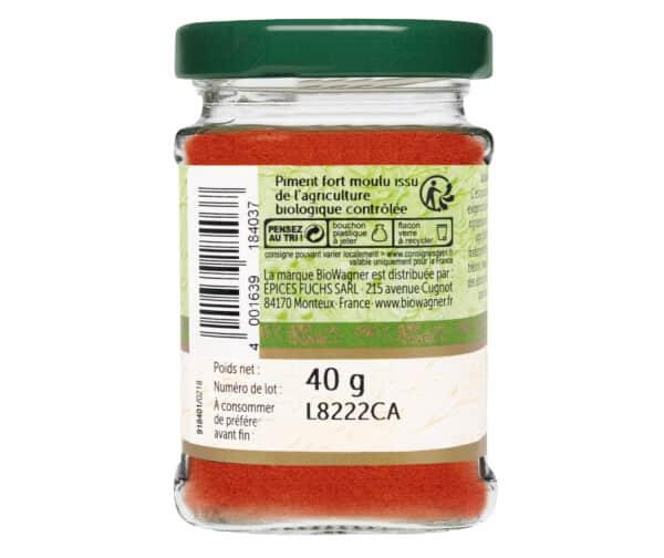 Piment fort moulu bio - Flacon verre - BioWagner