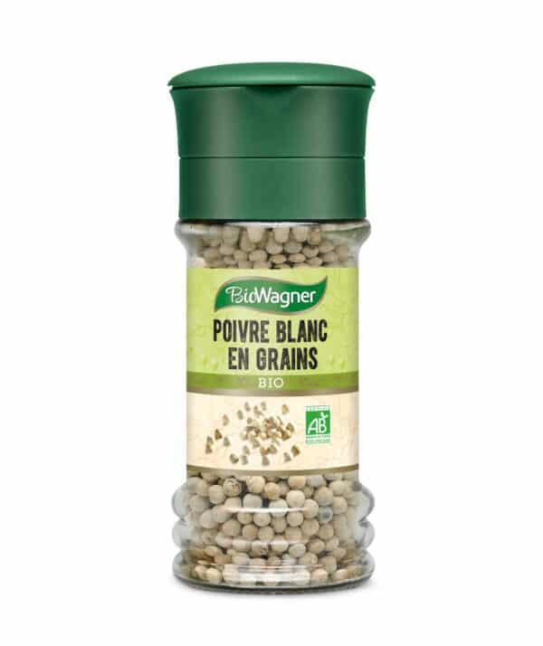 Poivre blanc grains bio - Moulin - BioWagner