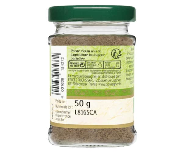 Poivre gris moulu bio - Flacon verre - BioWagner