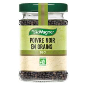 Poivre noir en grains bio - Flacon verre - BioWagner