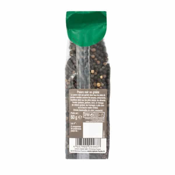 Poivre noir grains- Sachet recharge - Épices Fuchs