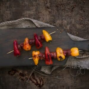 Brochettes poivrons et chorizo