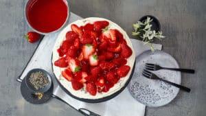 cheesecake fraises lavande
