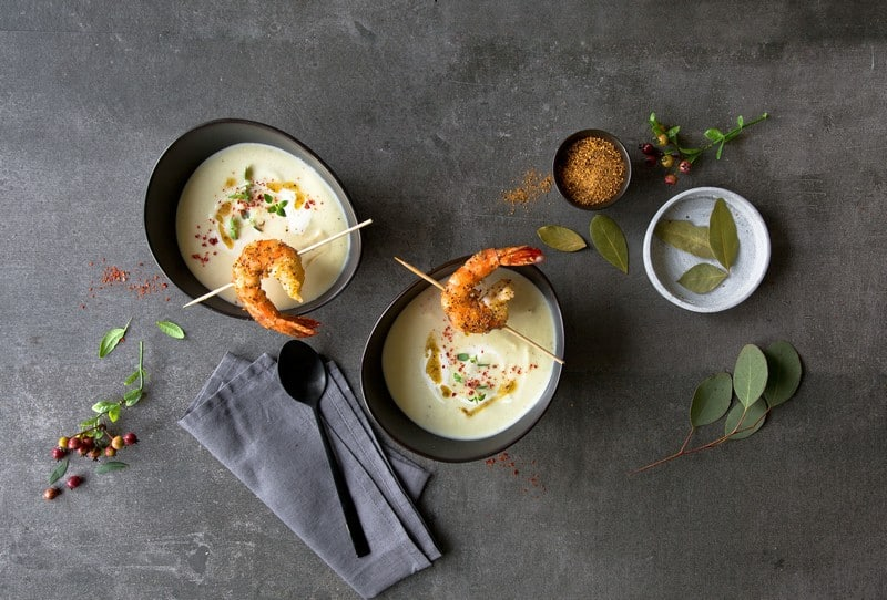 soupe de céleri et gambas a l'orange